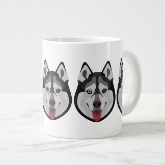 Taza De Café Grande El ilustracion persigue el husky siberiano de la