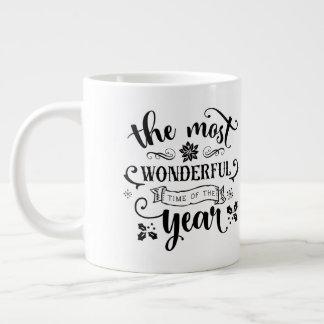 Taza De Café Grande El tiempo/el navidad más maravillosos cita /Mug