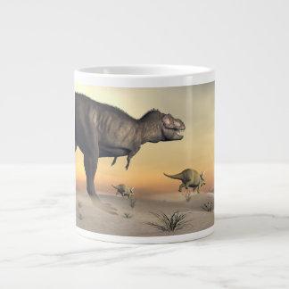 Taza De Café Grande El Triceratops que se escapa del tyrannosaurus 3D
