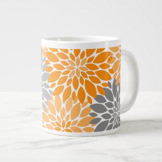 Taza De Café Grande Estampado de flores anaranjado y gris de los