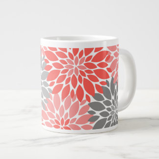 Taza De Café Grande Estampado de flores coralino y gris de los