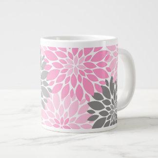 Taza De Café Grande Estampado de flores rosado y gris de los