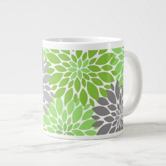Taza De Café Grande Estampado de flores verde y gris de los