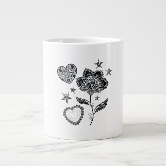 Taza De Café Grande flor corazón y estrellas