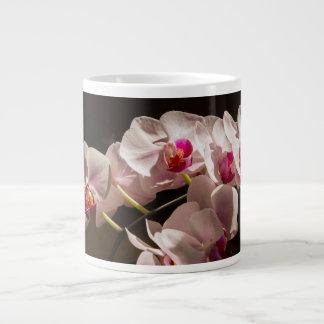 Taza De Café Grande Flores rosadas blancas de la orquídea del parque