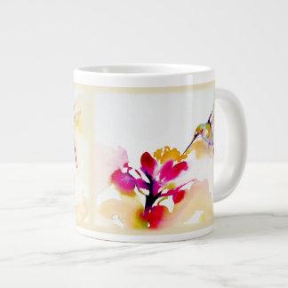"""Taza De Café Grande """"Impresión del colibrí del sorbo de la puesta del"""