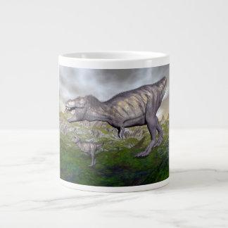 Taza De Café Grande La momia y el bebé 3D del dinosaurio del rex del