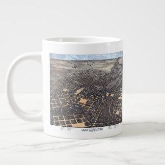 Taza De Café Grande Mapa aéreo antiguo de la ciudad de San Antonio,