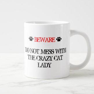 Taza De Café Grande No ensucie con la señora loca del gato