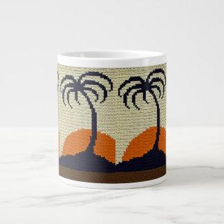 Taza De Café Grande Palmeras tropicales con el ganchillo anaranjado de