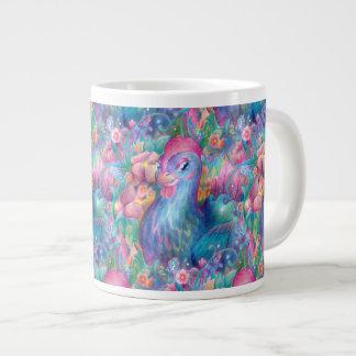 Taza De Café Grande Pollo y flores hermosos