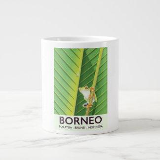 Taza De Café Grande Poster del viaje de la rana del veneno de Borneo
