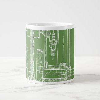 Taza De Café Grande ¡Verde fabuloso y blanco del modelo del dibujo