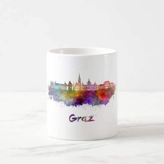 Taza De Café Graz skyline in watercolor