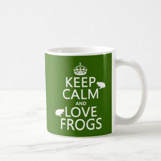 Taza De Café Guarde la calma y ame las ranas (cualquier color
