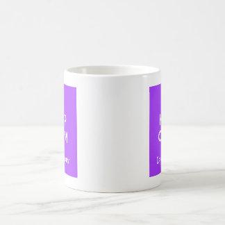 Taza De Café Guarde la calma y ame un brony - púrpura