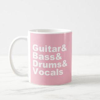 Taza De Café Guitar&Bass&Drums&Vocals (blanco)