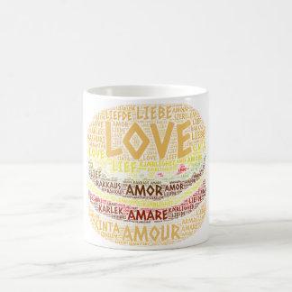 Taza De Café Hamburguesa ilustrada con palabra del amor