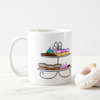 Taza De Café High tea - Mok illustratie met cupcakes en koekjes