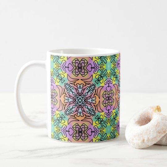 Taza De Café Hippie inconsútil de la repetición de la mandala