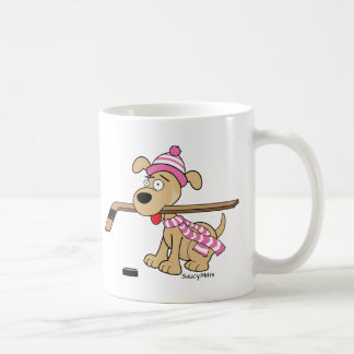 Taza De Café Hockey rosado de los chicas del perro del hockey