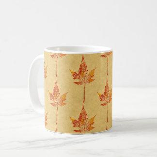 Taza De Café Hoja de arce del otoño de la impresión de la hoja