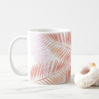 Taza De Café Hojas de palma del rosa y del melocotón