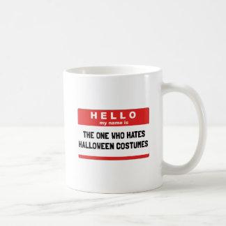 Taza De Café Hola disfraces de Halloween del odio del nombre