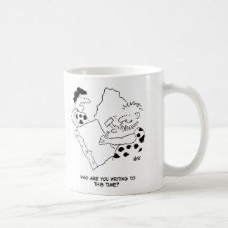 Taza De Café Hombre de las cavernas que escribe un dibujo