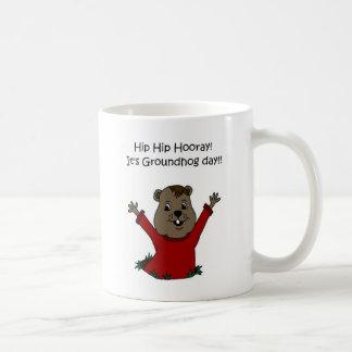 Taza De Café hooray su día de la marmota en blanco