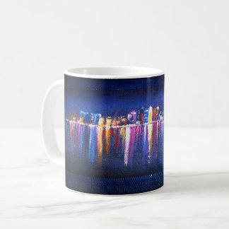 Taza De Café Horizonte de la ciudad de la noche, pintura al