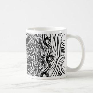 Taza De Café Ilusión óptica del Doodle adornado del zen blanco