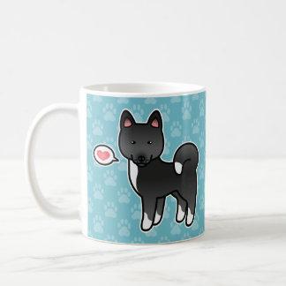 Taza De Café Ilustracion negro del dibujo animado del perro de