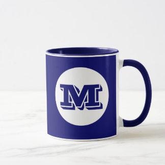 Taza de café impresa personalizado del monograma