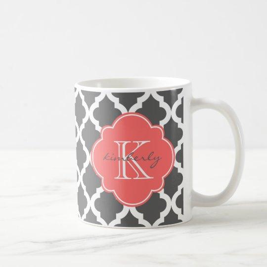 Taza De Café Impresión gris oscuro y coralina de Quatrefoil del