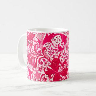 Taza De Café Iris y lirio, rosa de William Morris del fucsia