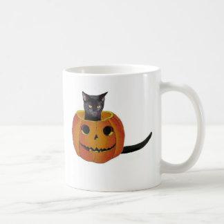 Taza De Café Jack-o-linterna del gato negro