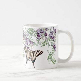 Taza De Café La arveja del Wildflower de las mariposas del