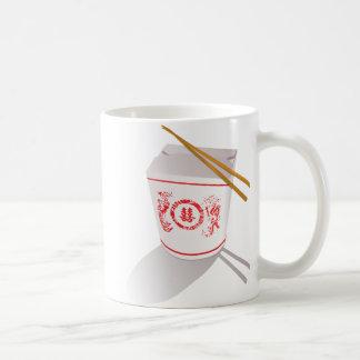 Taza De Café La comida china saca los palillos de la caja