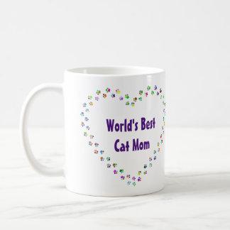 Taza De Café La mejor mamá del gato del mundo con el corazón de