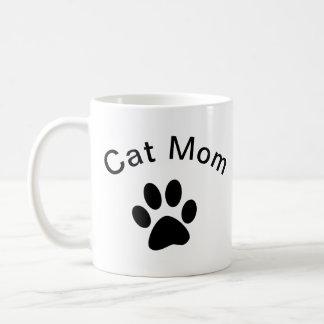 Taza De Café La pata del gatito de la mamá del gato negro