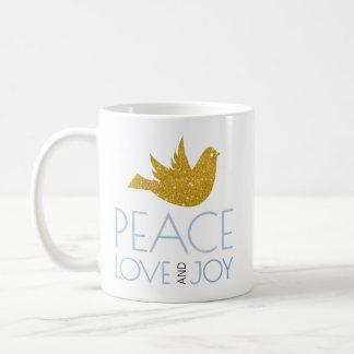 Taza De Café La paz, amor, acuarela de la alegría, oro se