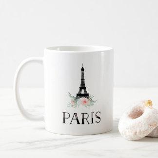 Taza De Café La torre Eiffel de moda y se ruboriza las flores