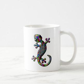 Taza De Café Lagarto del Gecko de Paisly del chapoteo del color