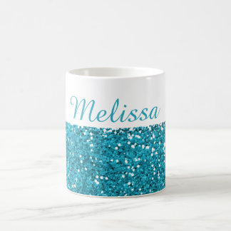Taza De Café Las azules turquesas elegantes brillan mi nombre