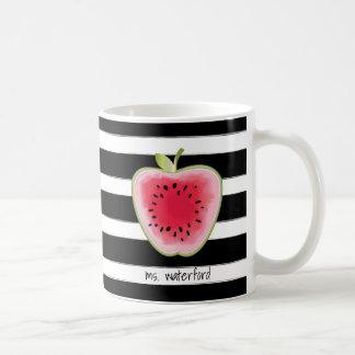 Taza De Café Las rayas de Apple de la sandía personalizaron al