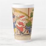 Taza De Café Latte Navidad vintage, Papá Noel victoriano en bicicleta