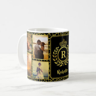 Taza De Café Laurel real del oro de la corona del collage el  