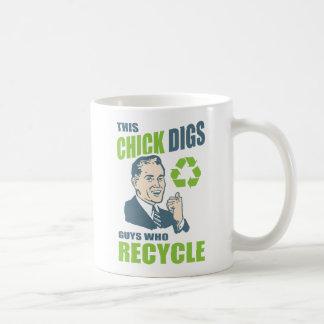 Taza De Café Lema de reciclaje retro divertido