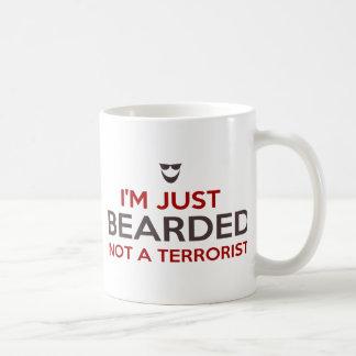 Taza De Café Lema islámico soy apenas barbudo no un terrorista